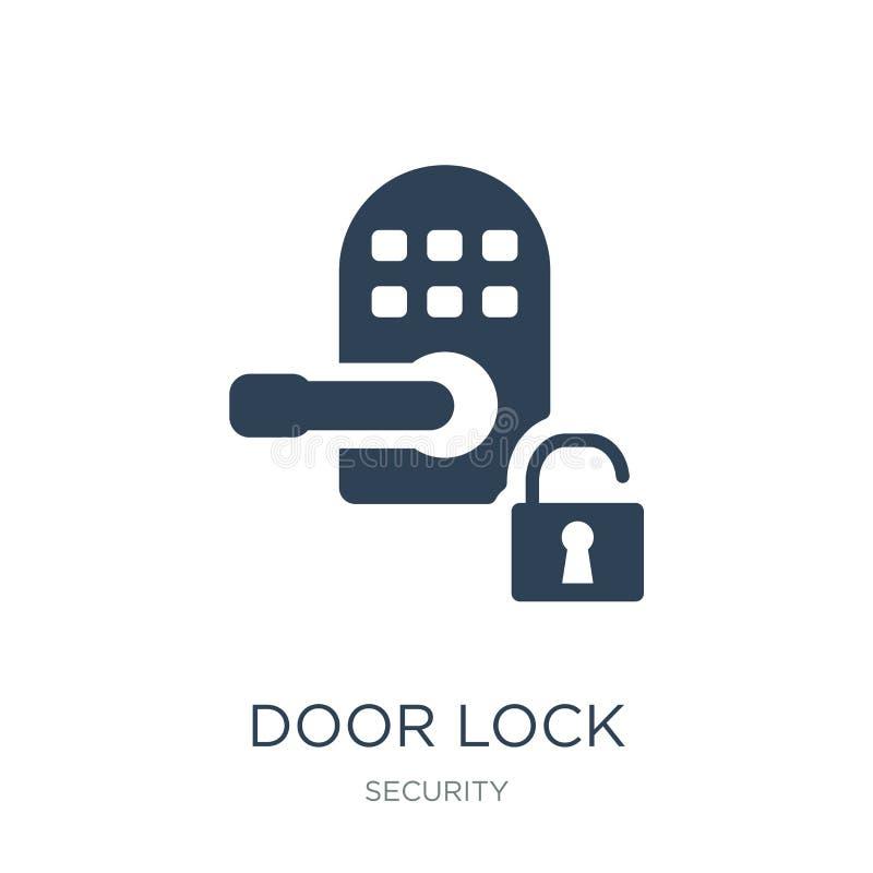 ícone da fechadura da porta no estilo na moda do projeto ícone da fechadura da porta isolado no fundo branco plano simples e mode ilustração stock