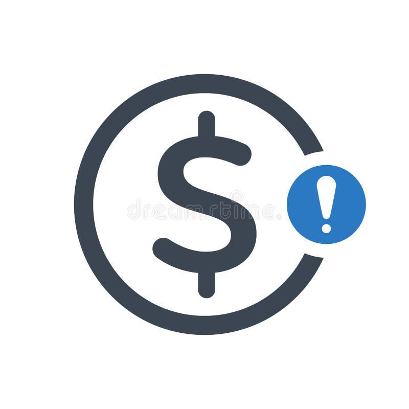 Ícone da finança com marca de exclamação Financie o ícone e o alerta, erro, alarme, símbolo do perigo ilustração royalty free