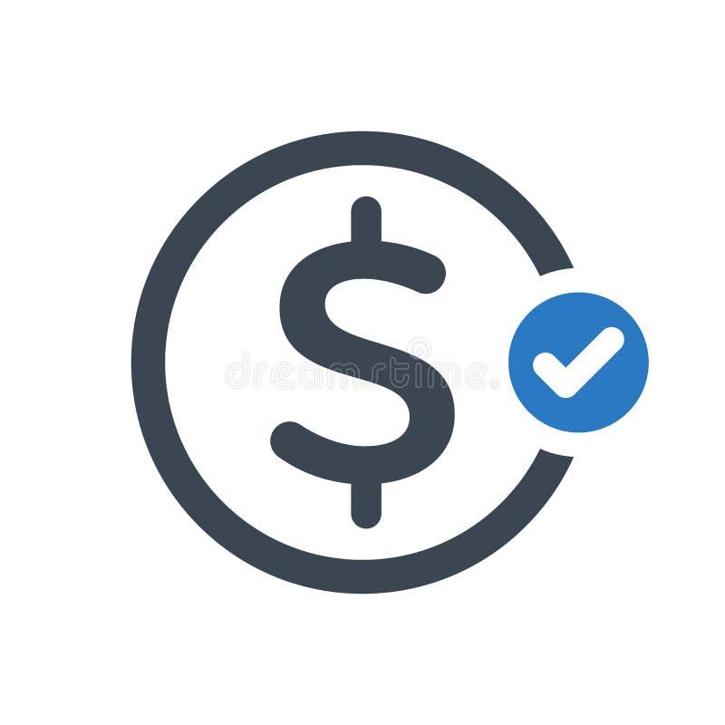 Ícone da finança com sinal da verificação O ícone da finança e aprovado, confirma, feito, tiquetaque, símbolo terminado ilustração stock