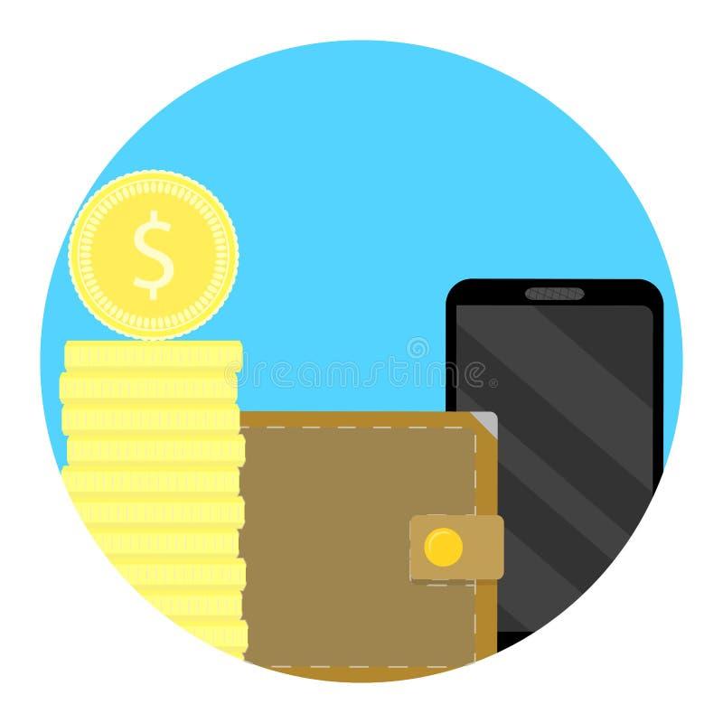 Ícone da finança do equilíbrio no telefone ilustração do vetor