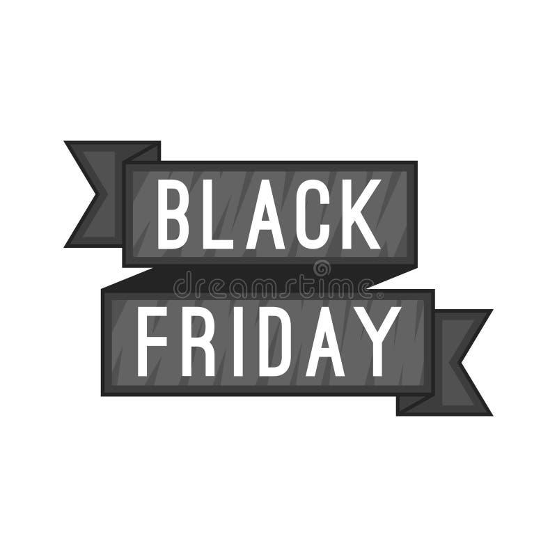 Ícone da fita da venda de Black Friday, estilo dos desenhos animados ilustração royalty free