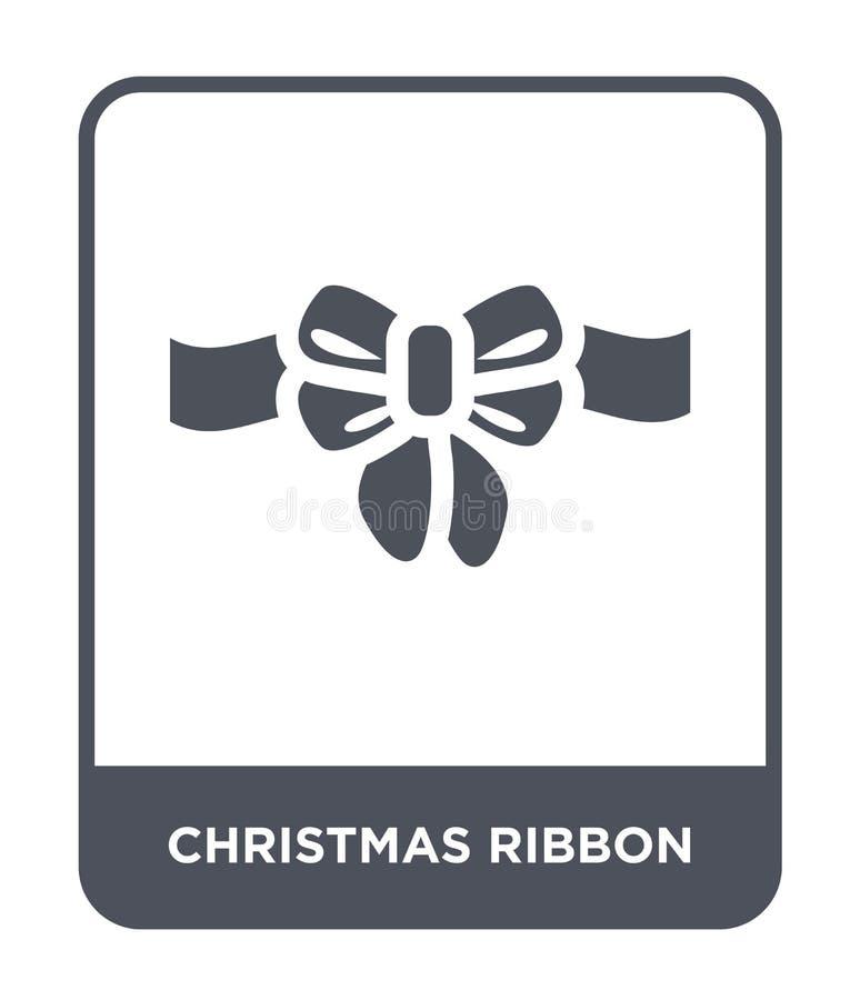 ícone da fita do Natal no estilo na moda do projeto ícone da fita do Natal isolado no fundo branco ícone do vetor da fita do Nata ilustração stock