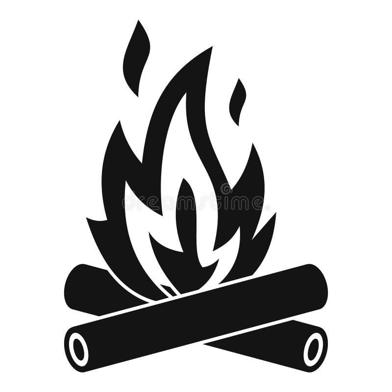 Ícone da fogueira, estilo simples ilustração stock