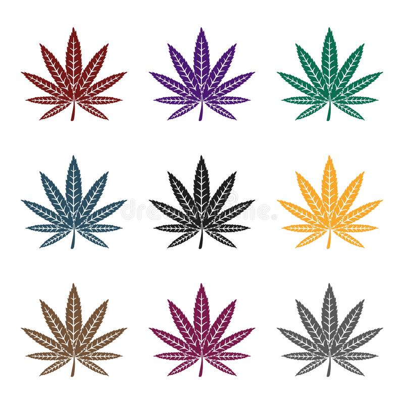 Ícone da folha da marijuana no estilo preto isolado no fundo branco Droga a ilustração conservada em estoque do vetor do símbolo ilustração stock