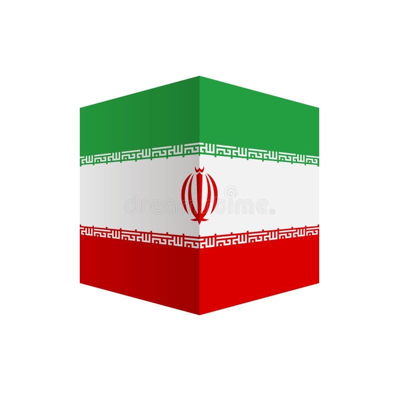 Ícone da forma do cubo da bandeira de Irã isolado no fundo branco imagens de stock