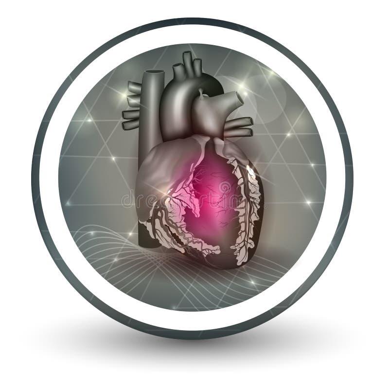 Ícone da forma redonda do coração ilustração royalty free