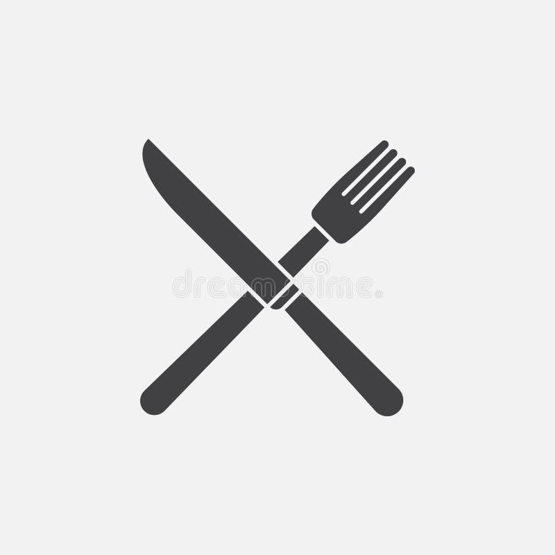 ícone da forquilha e da faca ilustração do vetor