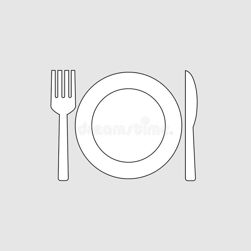ícone da forquilha e da faca ilustração stock