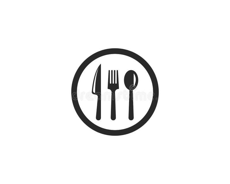 ícone da forquilha, da faca e da colher ilustração do vetor