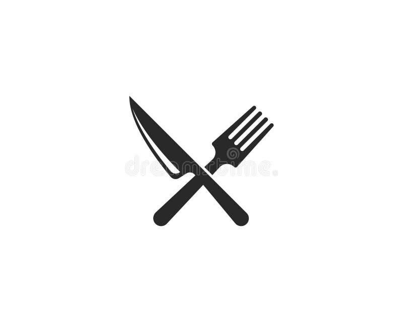 ícone da forquilha, da faca e da colher ilustração royalty free