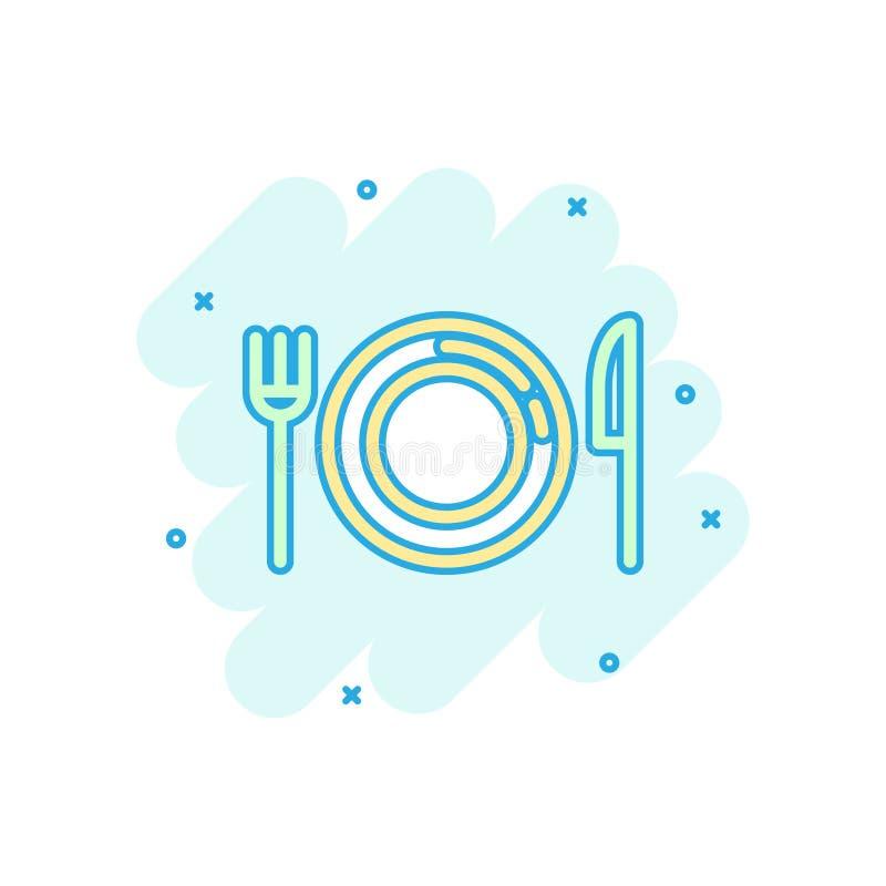 Ícone da forquilha, da faca e da placa no estilo cômico Ilustração dos desenhos animados do vetor do restaurante no fundo isolado ilustração royalty free