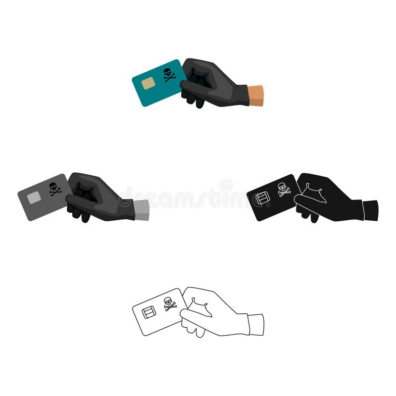 Ícone da fraude do cartão de crédito nos desenhos animados, estilo preto isolados no fundo branco Hacker e corte do vetor conserv ilustração do vetor