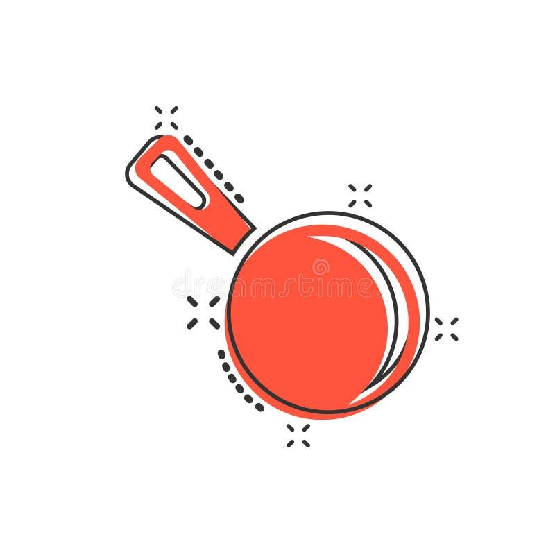 Ícone da frigideira dos desenhos animados do vetor no estilo cômico Cozinhando o conce da bandeja ilustração stock