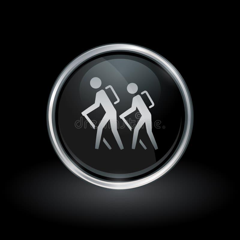 Ícone da fuga de caminhada dentro da prata redonda e do emblema preto ilustração royalty free