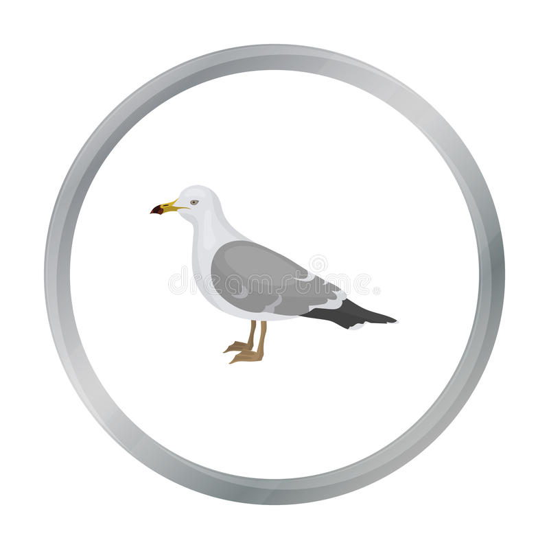 Ícone da gaivota no estilo dos desenhos animados isolado no fundo branco Ilustração do vetor do estoque do símbolo do pássaro ilustração stock