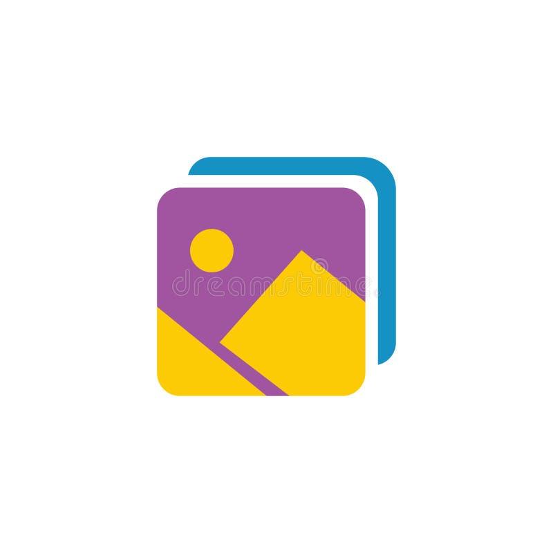 Ícone da galeria de fotografia - sinal da imagem da câmera - símbolo do álbum da fotografia - ilustração lisa do vetor isolada no ilustração royalty free
