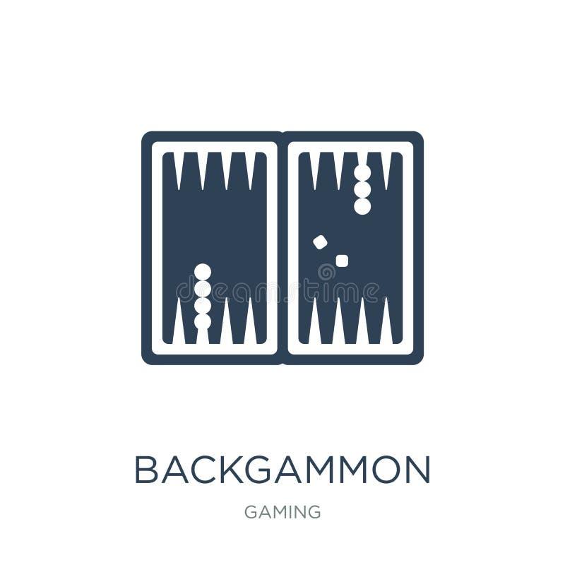 ícone da gamão no estilo na moda do projeto ícone da gamão isolado no fundo branco ícone do vetor da gamão simples e moderno ilustração royalty free