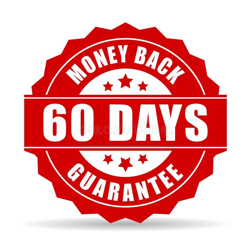 ícone da garantia da parte traseira do dinheiro de 60 dias ilustração royalty free