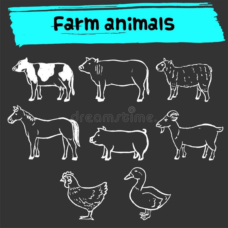 Ícone da garatuja dos animais de exploração agrícola ilustração do vetor