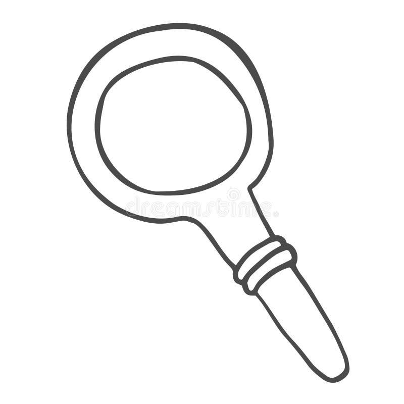 Ícone da garatuja da lupa Símbolo da busca Esboço tirado mão no vetor ilustração do vetor