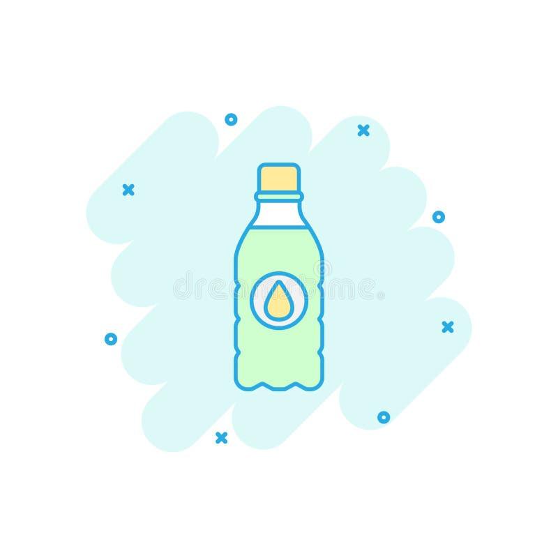 Ícone da garrafa de água dos desenhos animados do vetor no estilo cômico Illustra da garrafa ilustração royalty free