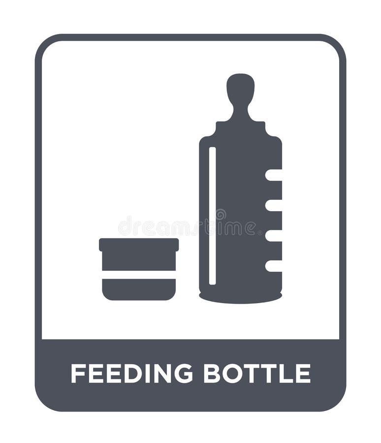 ícone da garrafa de alimentação no estilo na moda do projeto ícone da garrafa de alimentação isolado no fundo branco ícone do vet ilustração royalty free