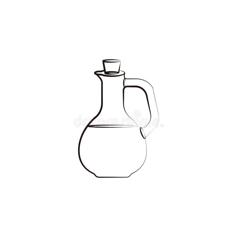 Ícone da garrafa de azeite Elemento do ícone do óleo para apps móveis do conceito e da Web O ícone tirado mão da garrafa de azeit ilustração stock