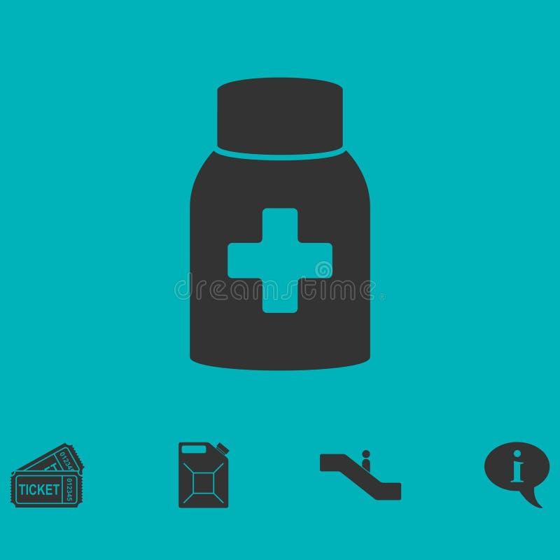 Ícone da garrafa de comprimido da medicina horizontalmente ilustração do vetor