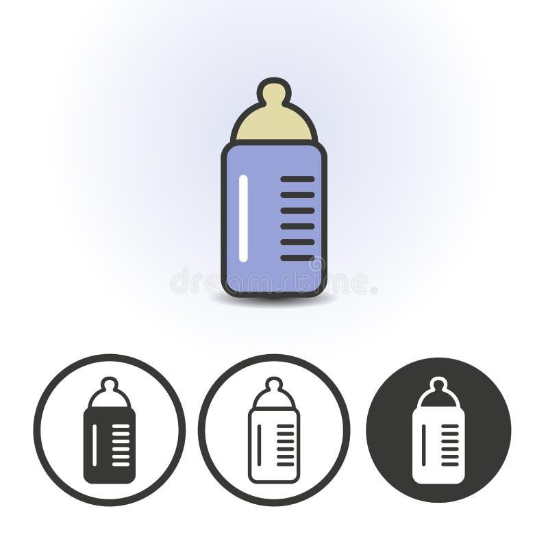 Ícone da garrafa de leite do bebê ilustração stock