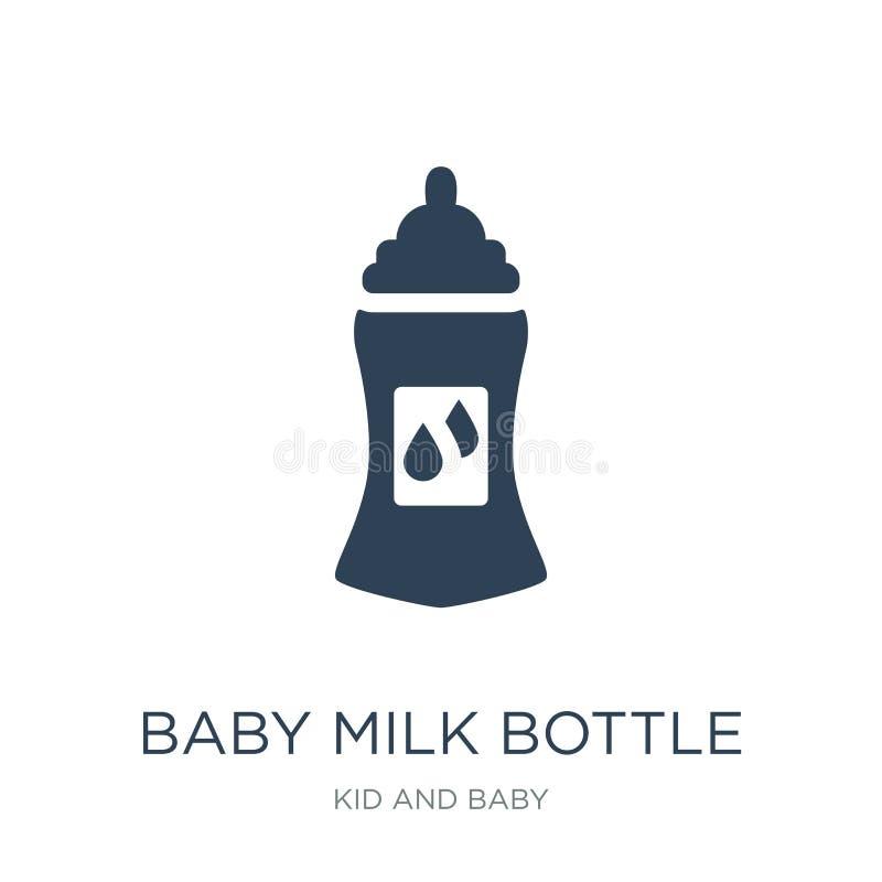 ícone da garrafa de leite do bebê no estilo na moda do projeto ícone da garrafa de leite do bebê isolado no fundo branco ícone do ilustração royalty free