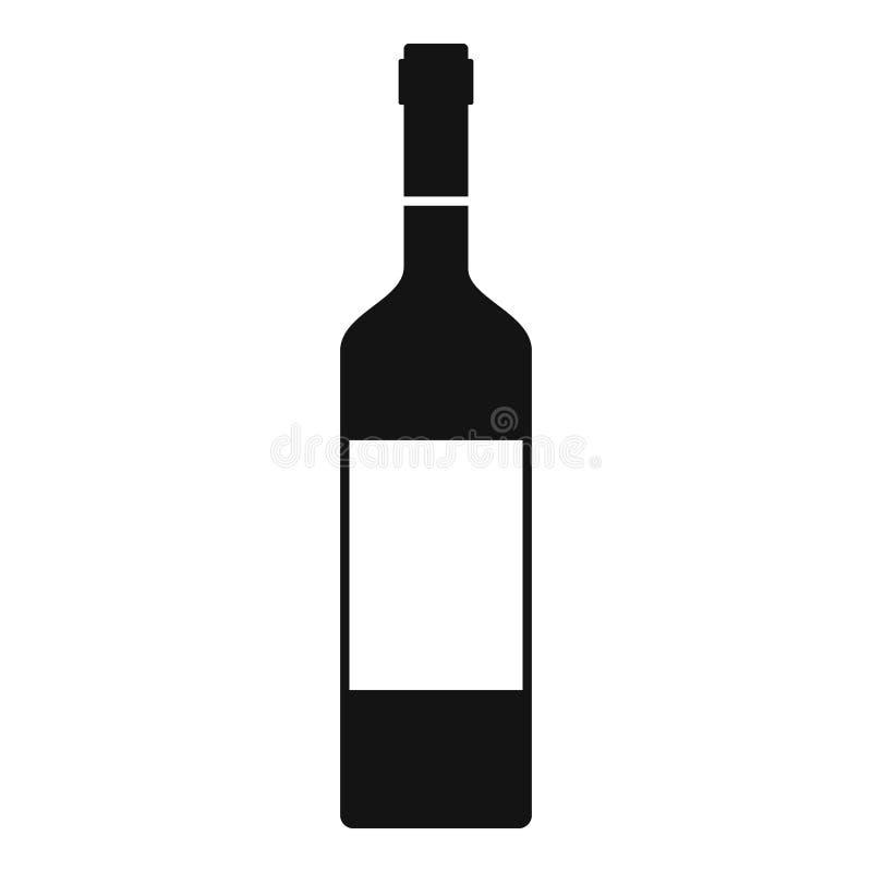 Ícone da garrafa de vinho, estilo simples ilustração stock