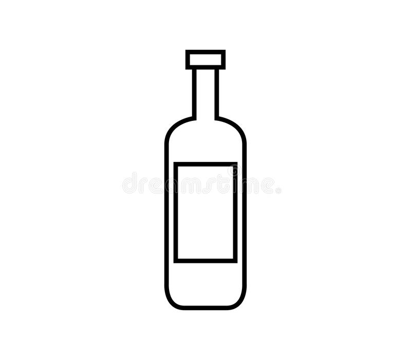Ícone da garrafa de vinho ilustrado ilustração royalty free