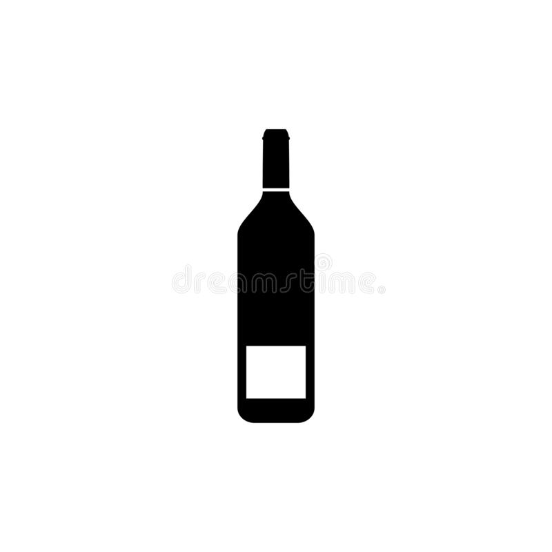Ícone da garrafa de vinho no branco Vetor ilustração do vetor