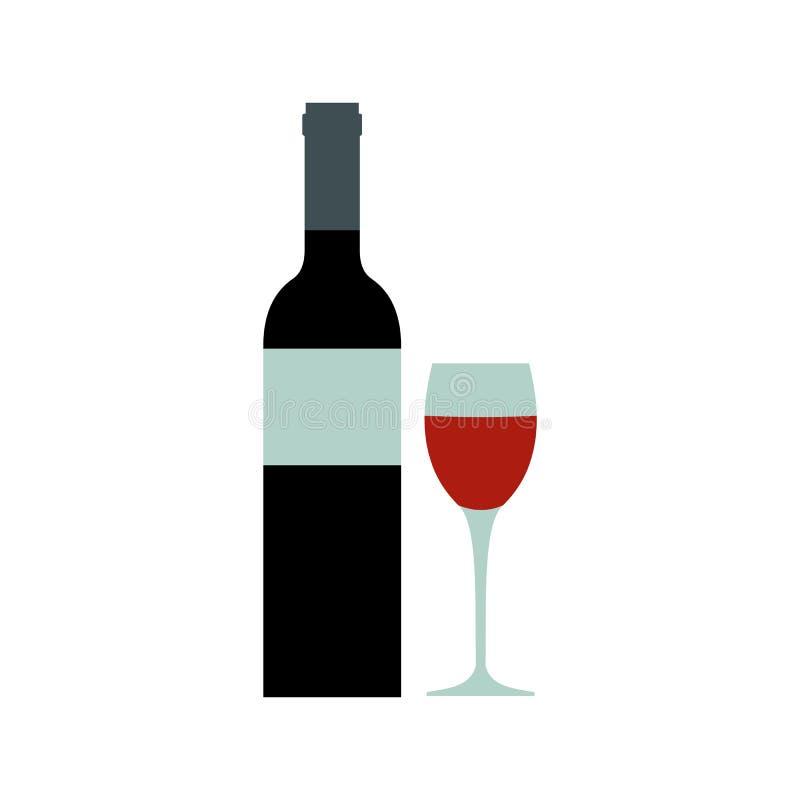 Ícone da garrafa de vinho tinto, estilo liso ilustração do vetor