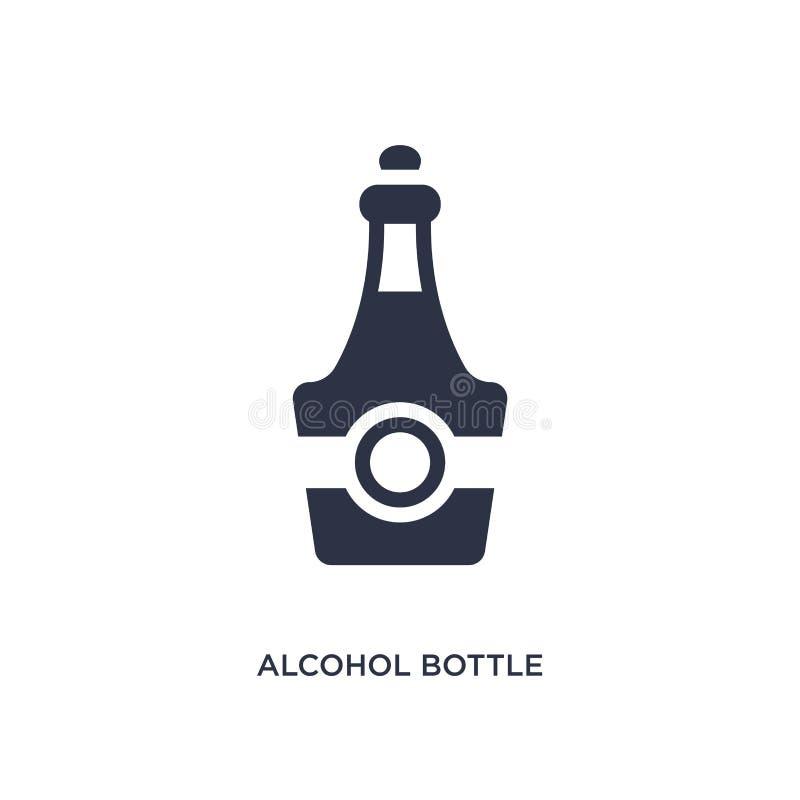 ícone da garrafa do álcool no fundo branco Ilustração simples do elemento do conceito do deserto ilustração do vetor