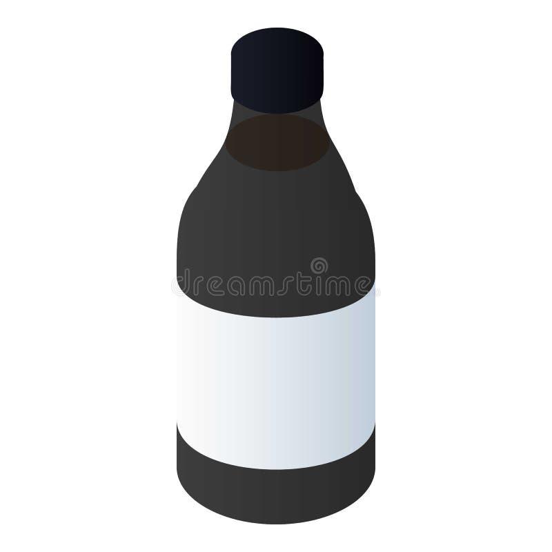 Ícone da garrafa do líquido de freio, estilo isométrico ilustração royalty free