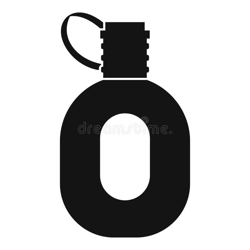 Ícone da garrafa do turista, estilo simples ilustração do vetor