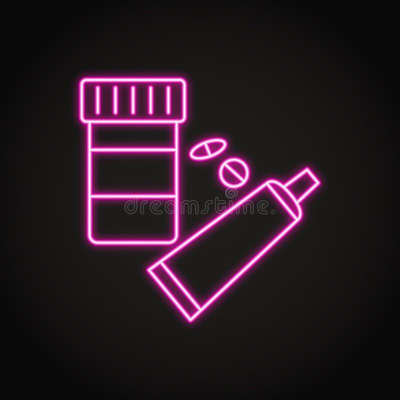 Ícone da garrafa e do tubo da medicamentação na linha estilo de néon ilustração stock