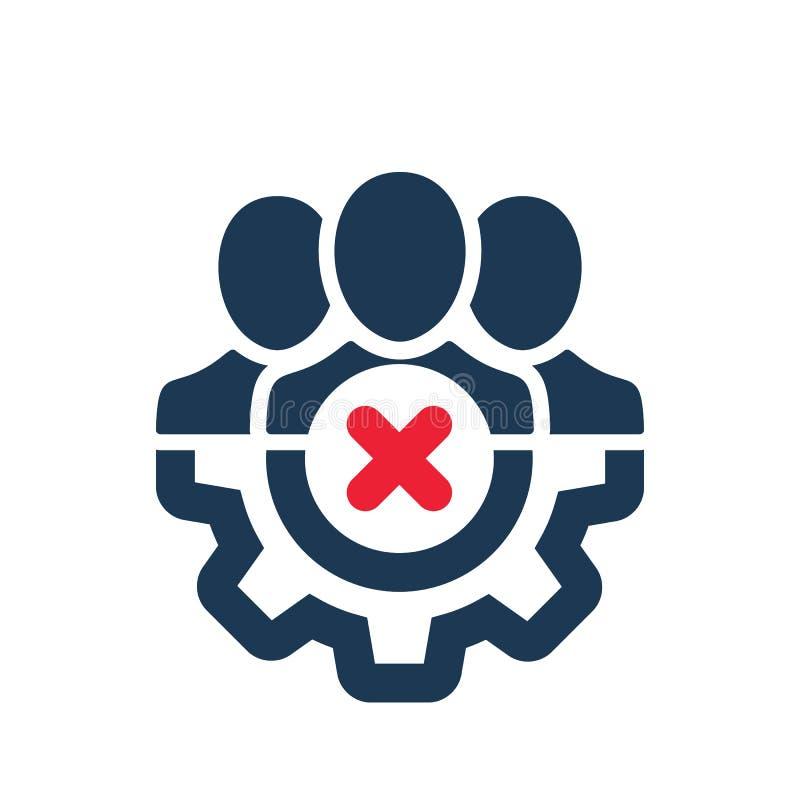 Ícone da gestão com sinal do cancelamento O ícone da gestão e o fim, supressão, removem o símbolo ilustração stock