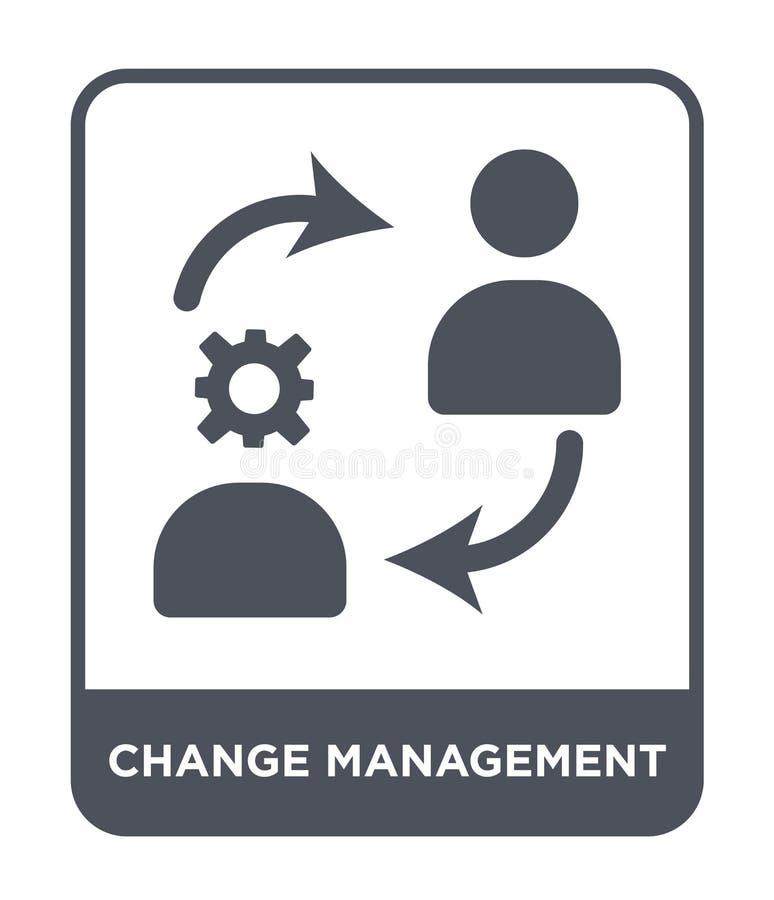 ícone da gestão de mudanças no estilo na moda do projeto ícone da gestão de mudanças isolado no fundo branco ícone do vetor da ge ilustração royalty free