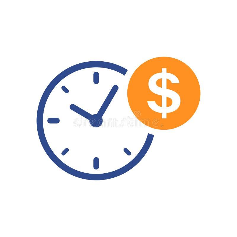 Ícone da gestão do negócio e da finança no estilo liso O tempo é mone ilustração do vetor