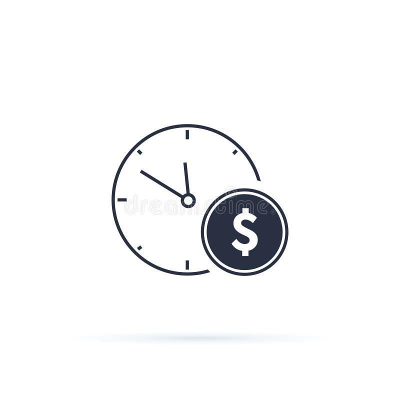 Ícone da gestão do negócio e da finança no estilo liso Tempo é dinheiro ilustração no fundo branco Estratégia financeira ilustração stock