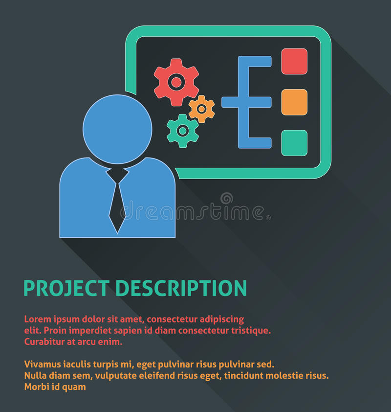 Ícone da gestão do projeto, ícone da descrição de projeto ilustração do vetor