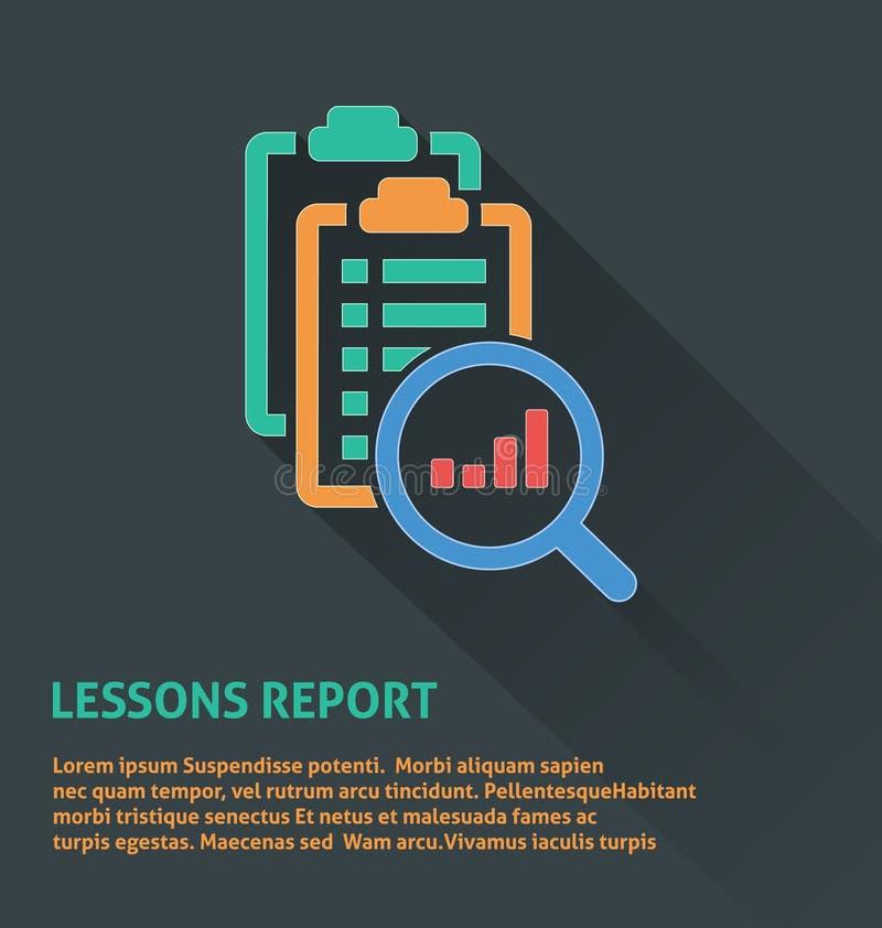 Ícone da gestão do projeto, ícone do relatório das lições ilustração stock