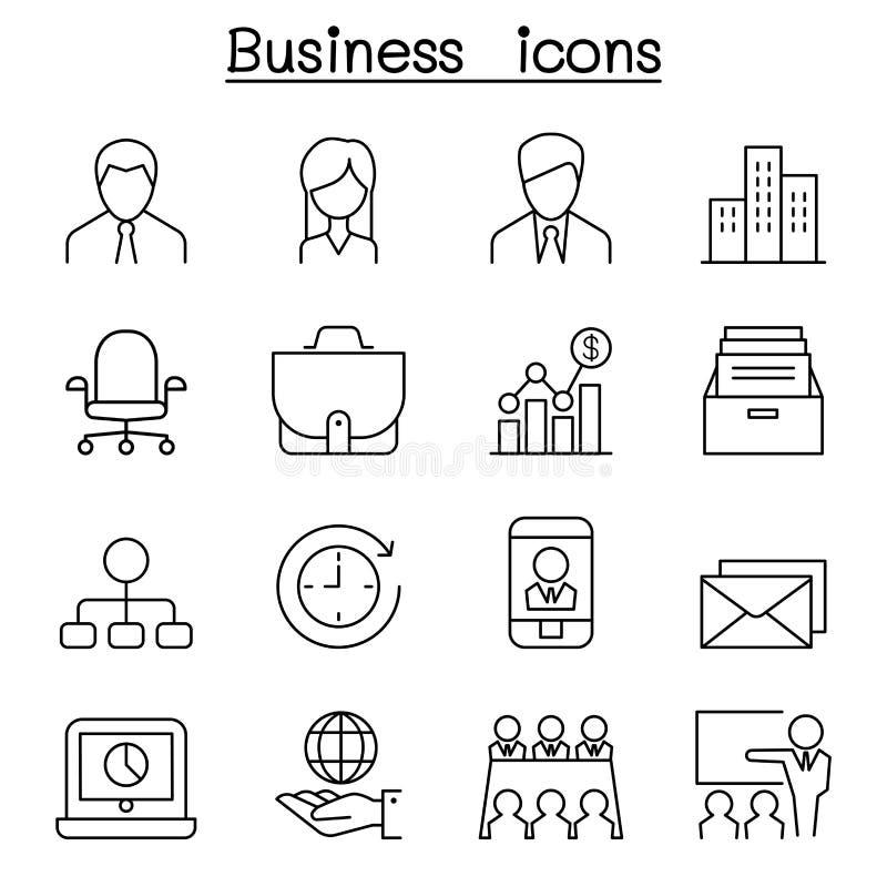 Ícone da gestão empresarial ajustado na linha estilo fina ilustração do vetor