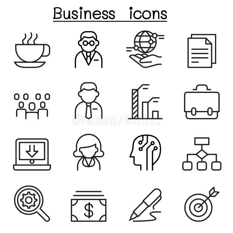 Ícone da gestão empresarial ajustado na linha estilo fina ilustração stock