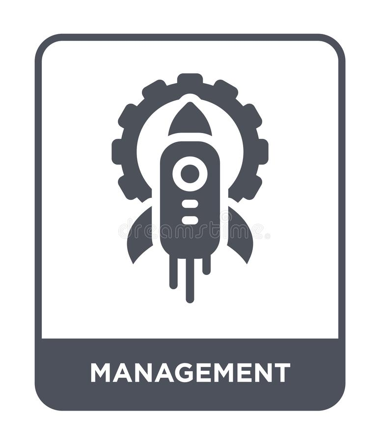 ícone da gestão no estilo na moda do projeto ícone da gestão isolado no fundo branco ícone do vetor da gestão simples e moderno ilustração stock