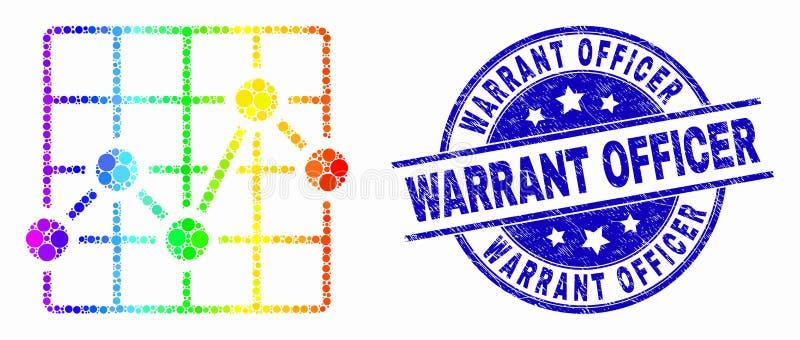 Ícone da grade da carta de Pixelated do vetor e oficial de autorização brilhantes Stamp do Grunge ilustração do vetor