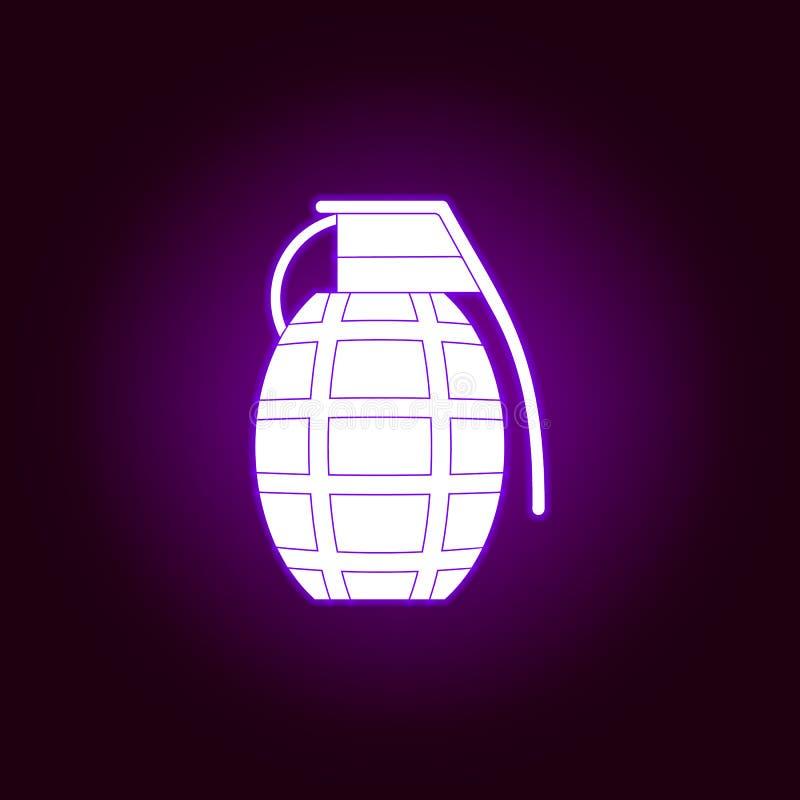 ?cone da granada no estilo de n?on Elemento da guerra, ilustra??o da armadura ?cone superior do projeto gr?fico da qualidade Sina ilustração royalty free