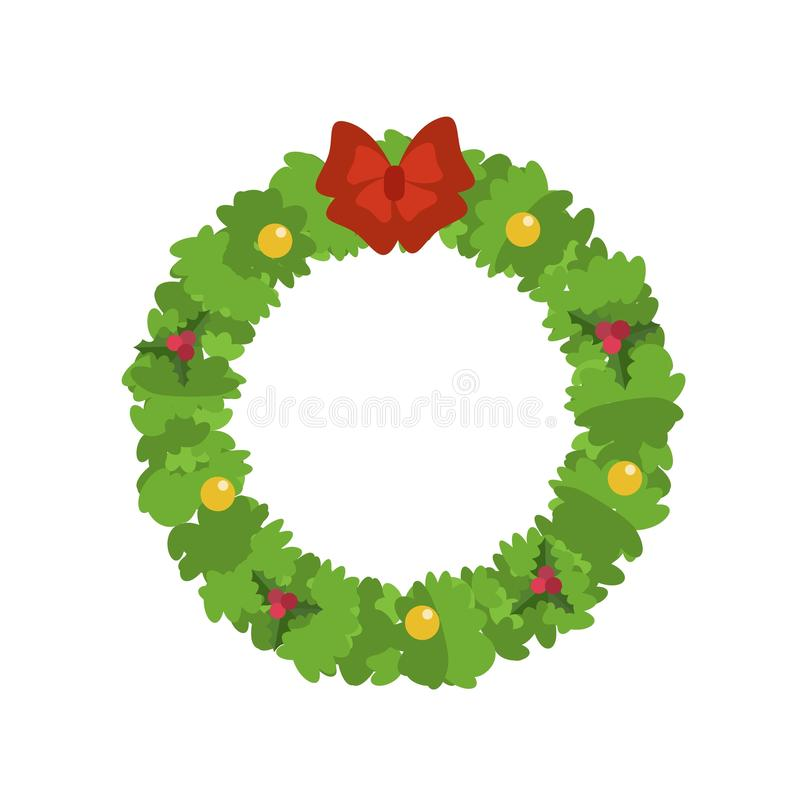 Ícone da grinalda do Natal, estilo liso ilustração royalty free
